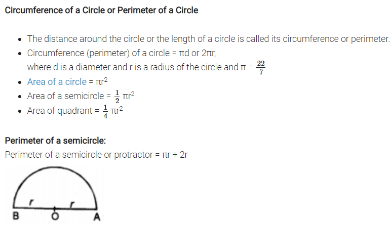 Areas Related to Circles Formulas for Class 10 Q1