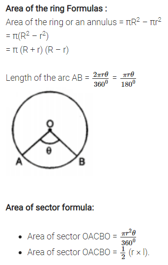 Areas Related to Circles Formulas for Class 10 Q2