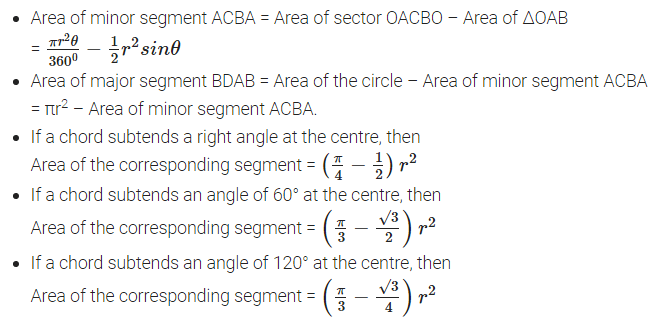 Areas Related to Circles Formulas for Class 10 Q5