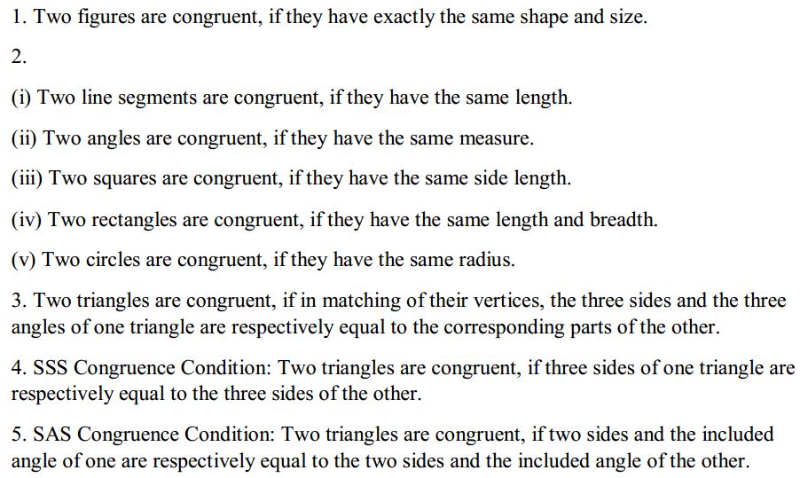 Congruence of Triangles Formulas for Class 7 Q1