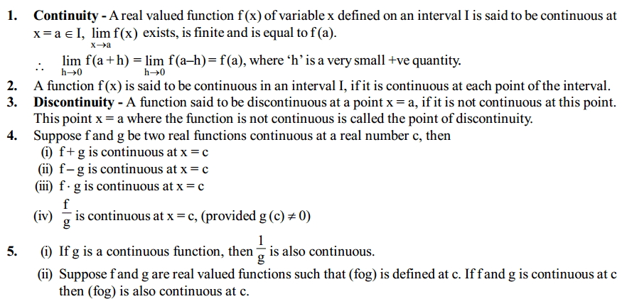 Continuity and Differentiability Formulas for Class 12 Q1