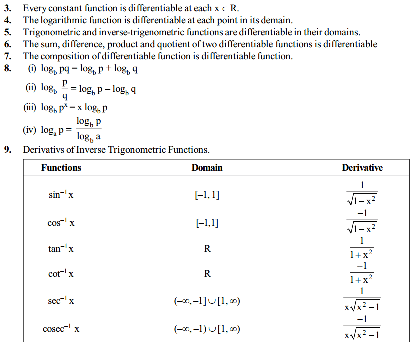 Continuity and Differentiability Formulas for Class 12 Q7