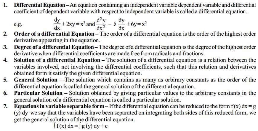 Differential Equations Formulas for Class 12 Q1