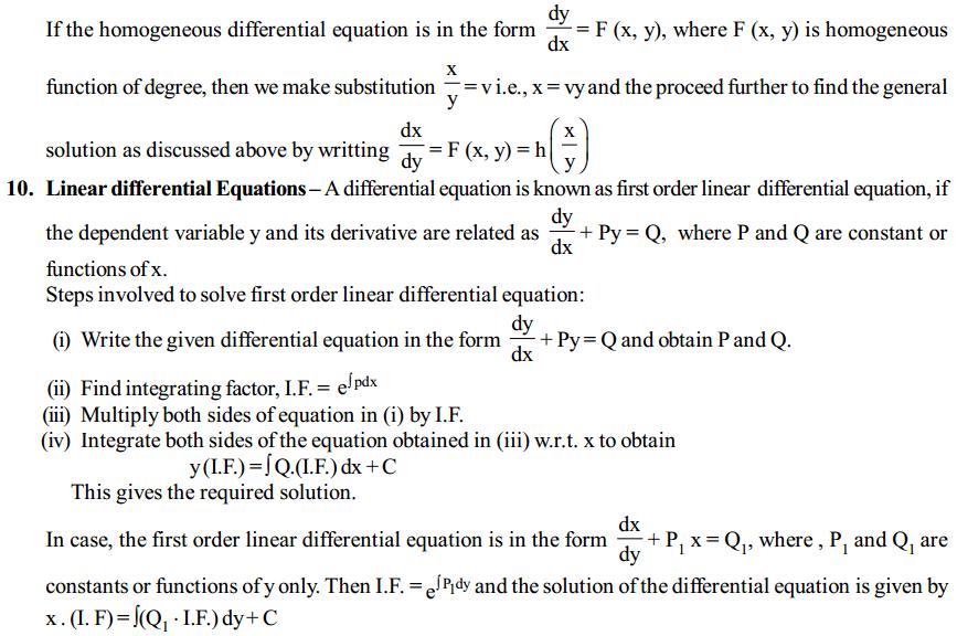 Differential Equations Formulas for Class 12 Q3