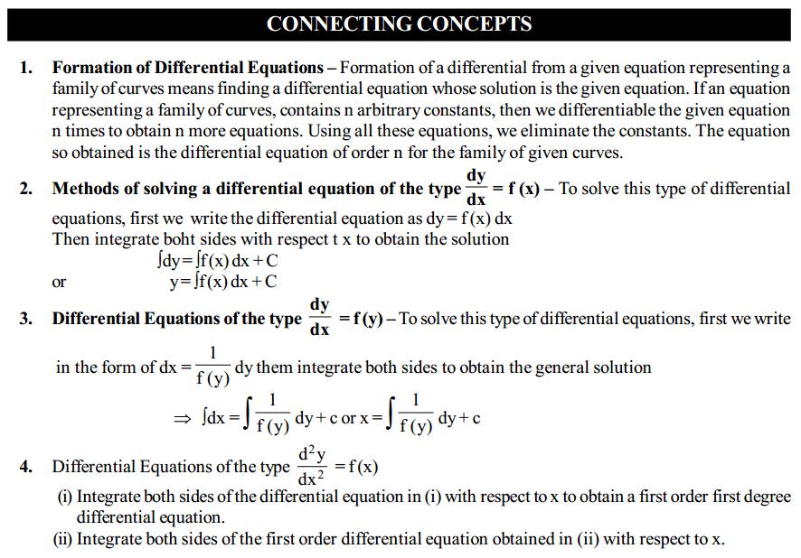 Differential Equations Formulas for Class 12 Q4