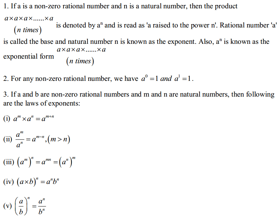 Exponents and Powers Formulas for Class 7 Q1