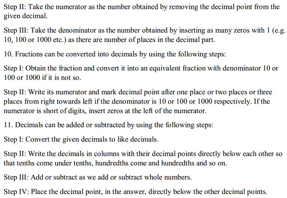 Fractions and Decimals Formulas for Class 7 Q5