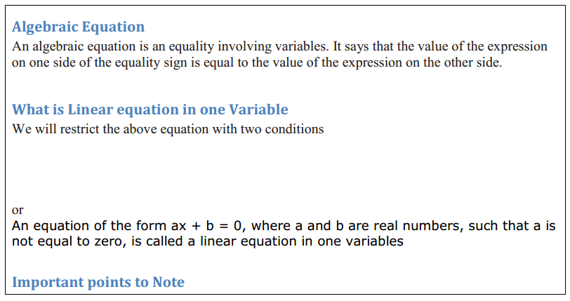 Linear Equations in One Variable Formulas for Class 8 Q1