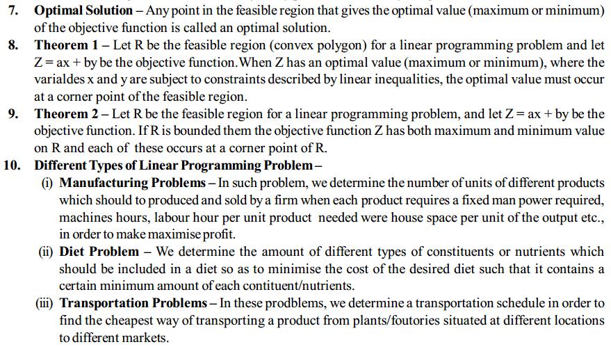 Linear Programming Formulas for Class 12 Q2