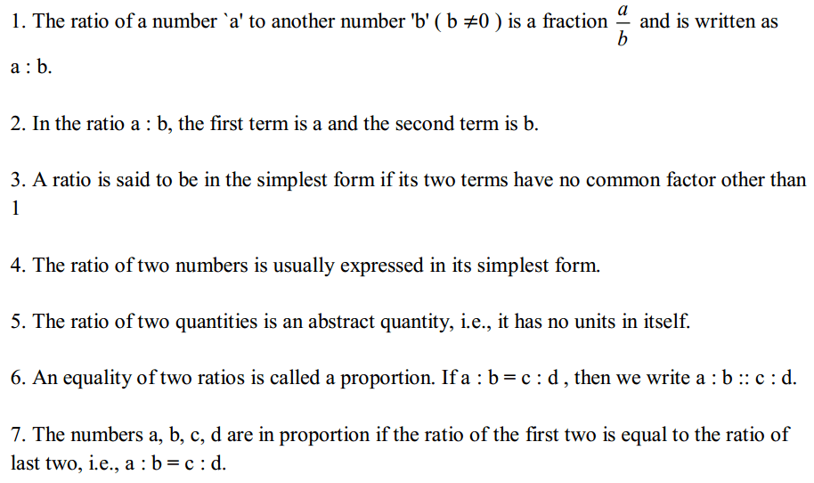 Ratio and Proportion Formulas Formulas for Class 6 Q1