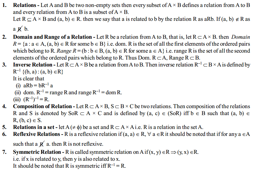 Relations and Functions Formulas for Class 12 Q1