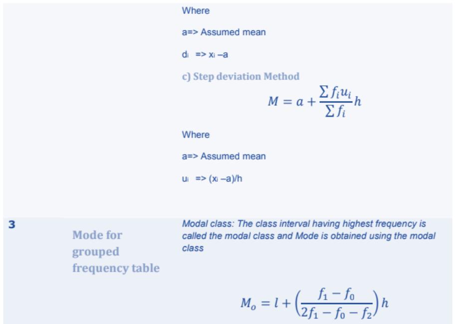 Statistics Formulas for Class 10 Q7