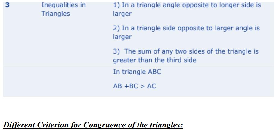 Triangles Formulas for Class 10 Q3