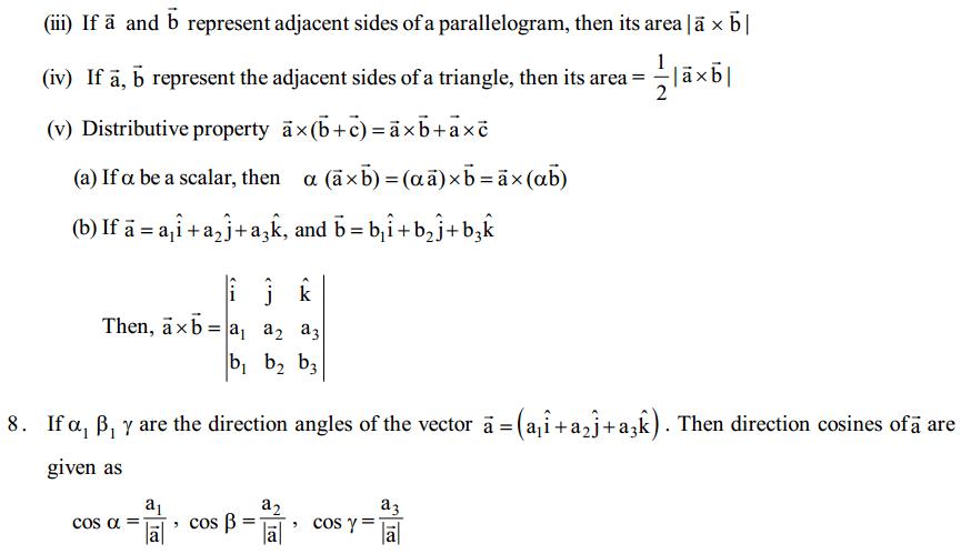 Vector Algebra Formulas for Class 12 Q12