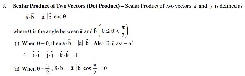 Vector Algebra Formulas for Class 12 Q13