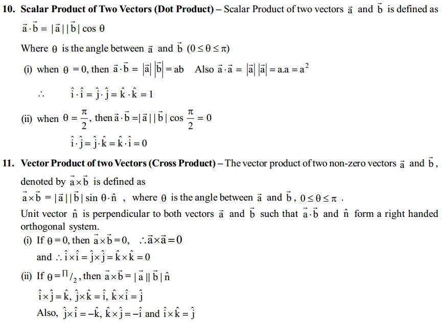 Vector Algebra Formulas for Class 12 Q8