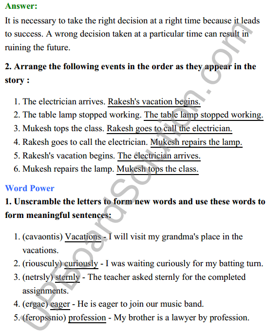 UP Board Class 8 English Solutions Rainbow Chapter 3 The Right Choice 4