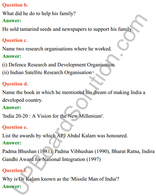 UP Board Class 8 English Solutions Rainbow Chapter 8 The Missile Man of India 3