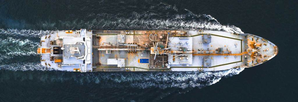Supply boat from overhead.
