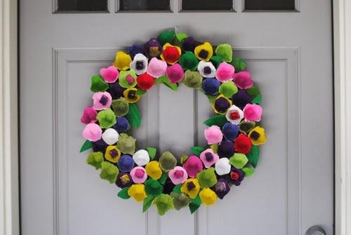Cartón de huevos guirnalda maneras upcycling puertas hogar colorido creativo