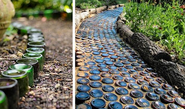 botellas de vidrio recicladas jardín bricolaje idea de frontera camino