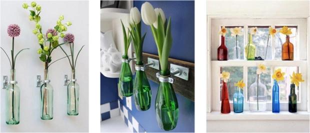 la reutilización de botellas de vidrio baño de pared decoración de la flor del tulipán ideas inspiradoras