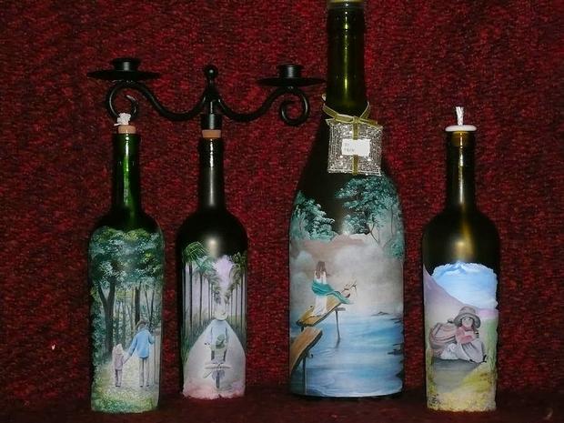 botellas de vidrio artesanal de reutilización de hierro decorada pintura candelabro