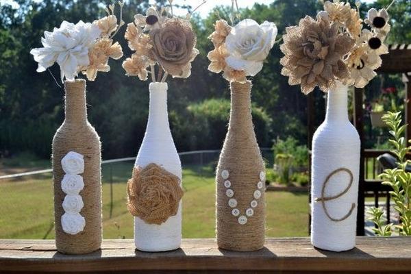botellas de vino upcycled florero ideas de origen creativo de la flor