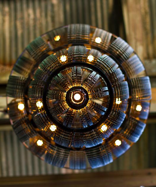 reciclados lámparas de araña de la cadena de la bicicleta del arte del metal lámpara colgante