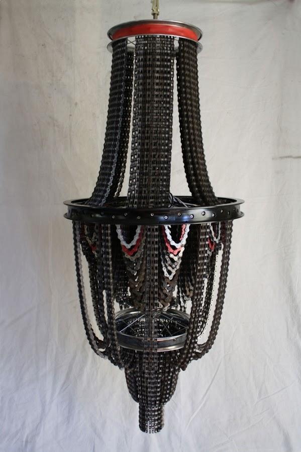 araña de la reutilización de la lámpara idea de bicicleta cadena de bicicleta