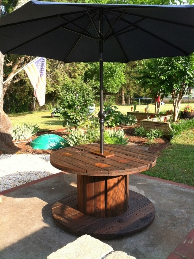 Wooden Cable Spool Table 40 Upcycled Furniture Ideas