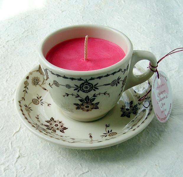reutilizar viejas tazas de té de porcelana de reutilización de las velas de las ideas caseras