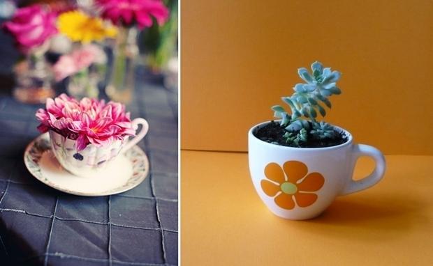 reutilizar viejas tazas de té de porcelana mini hermoso suculentas piezas centrales del plantador ideas de decoración