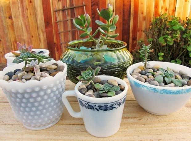 Tazas de té de reutilización de las ideas Upcycle creativa ollas blancas al aire libre jardín decoración plantador de las ideas