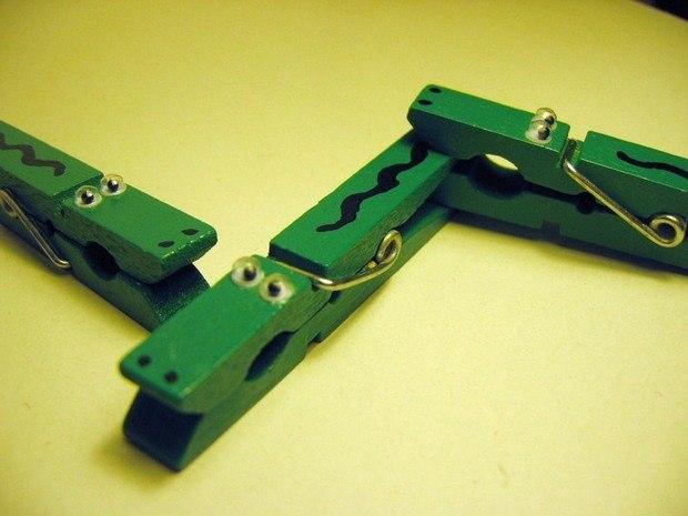 ideas creativas de arte verdes juguetes de los niños Clothespeg reciclaje decoración de interiores