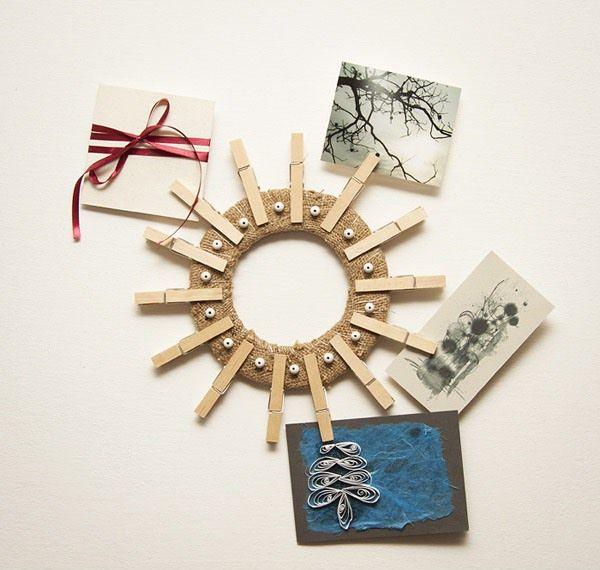pinza de la ropa del arte de la pared corona de bricolaje Ideas titular de la tarjeta de felicitación