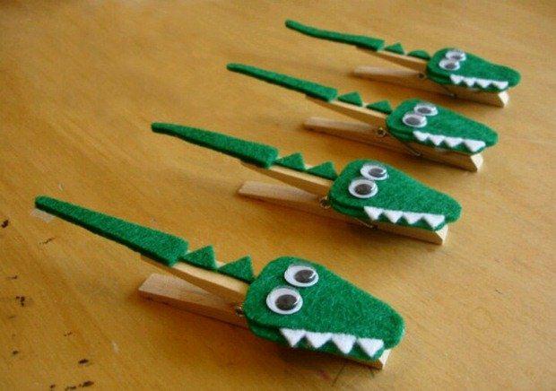 lindo manualidades bricolaje pinza de ropa para niños de cocodrilo decoración piso de madera