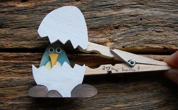 pinza de la ropa upcycled artesanías de huevos de aves proyecto los niños regalo de