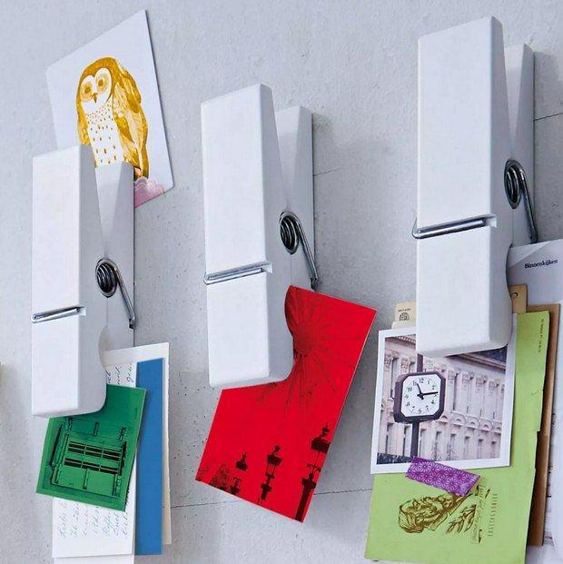sostenedor de la nota de la pared clothespins reutilizados decoración de los artes