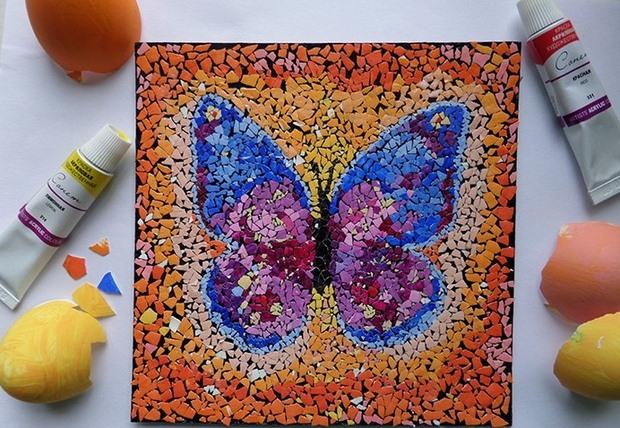 reutilizar arte del mosaico de la cáscara de huevo de mariposa bricolaje ideas de decoración Pascua