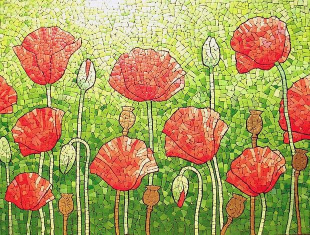 reutilizar cáscara de huevo flores del arte del mosaico rojas hechas a mano creativa artes de Pascua upcycled
