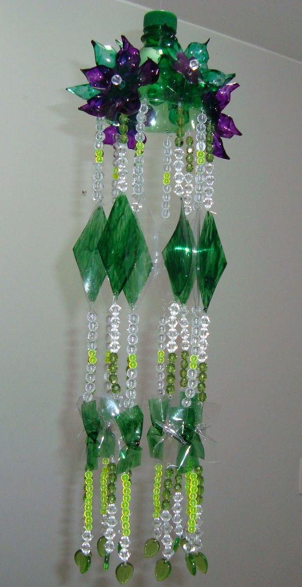 reciclaje de botellas de plástico en las ideas de decoración carillón de viento de bricolaje
