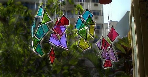 reutilizados viento carillón artesanía jardín de piezas de vidrio no utilizados pintadas de diferentes colores