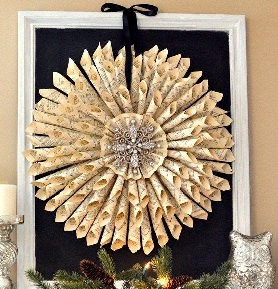 página del libro de adornos de navidad de papel enrollado corona de la decoración del hogar bricolaje