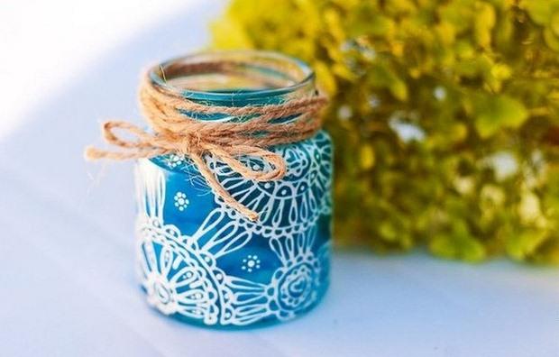azul frasco de vidrio artesanía de Navidad la decoración de la cinta Ideas upcycled