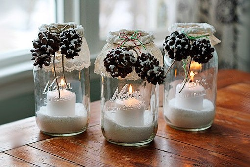 tarro de cristal artesanía de Navidad luminarias bricolaje piñas ideas de nieve decorativos