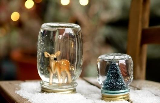 tarro de cristal artesanía de Navidad globos de nieve decorativos ciervos árbol de navidad nieve