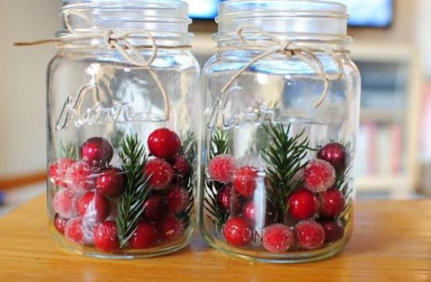tarros de albañil del navidad centros de bricolaje arándanos artesanales cuerda idea de la decoración de la cinta