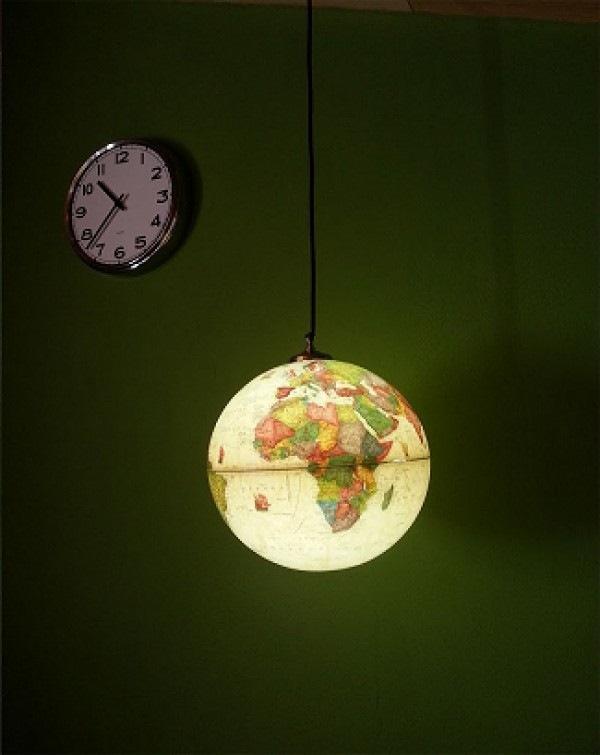 reutilizados upcycled mundo en globo colgando colgante decoración ligera
