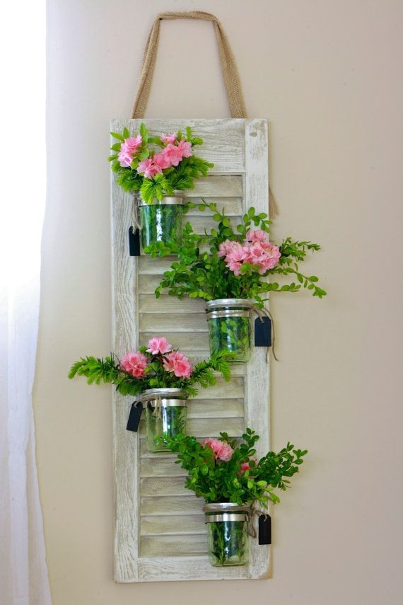 Recycling Old Wooden Window Frame Wall Hanging With Gl Jar Flowers Decor Idea